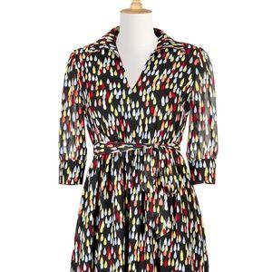 eShakti Raindrop Colorful Print Vintage Dress